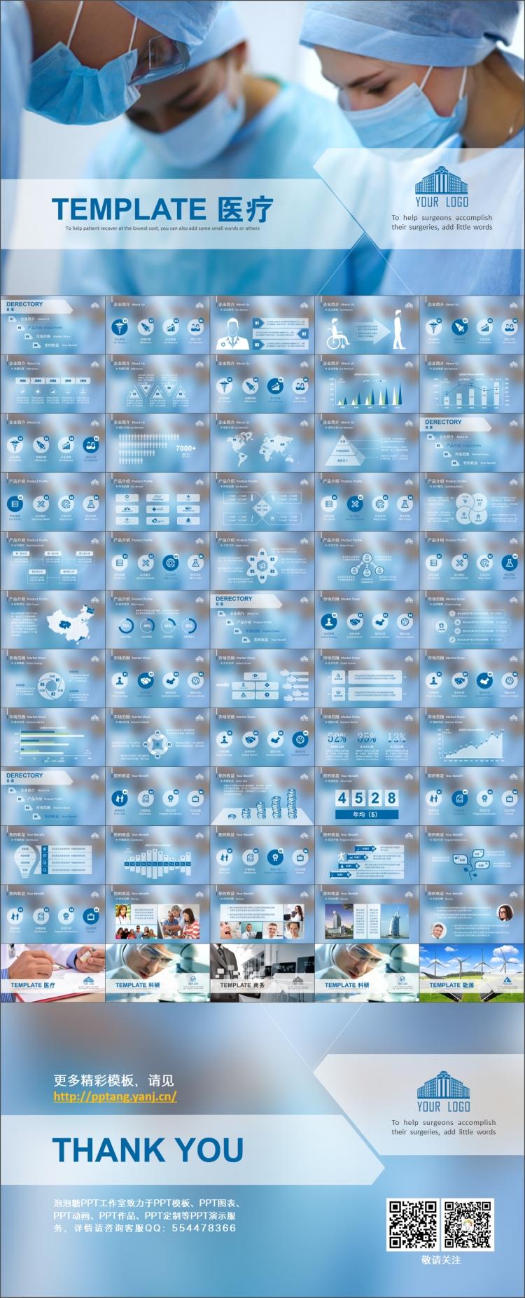 多行业扁平商务模板(医疗,商务,科研,能源,建筑)